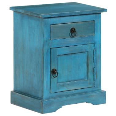 vidaXL Noptieră, albastru, 40 x 30 x 50 cm, lemn masiv de mango[13/14]