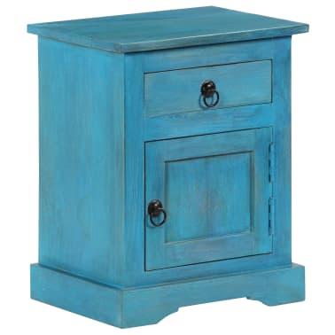 vidaXL Noptieră, albastru, 40 x 30 x 50 cm, lemn masiv de mango[14/14]