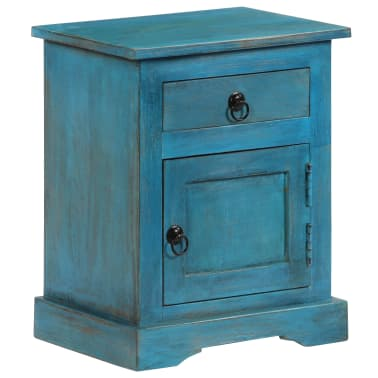 vidaXL Noptieră, albastru, 40 x 30 x 50 cm, lemn masiv de mango[3/14]