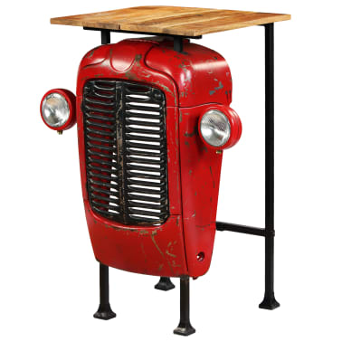 vidaXL Table de bar Bois de manguier massif 60x60x107cm Rouge Tracteur[1/17]