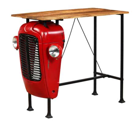 vidaXL vörös tömör mangófa traktoros bárasztal 60 x 120 x 107 cm