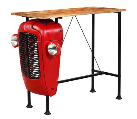vidaXL Table de bar Bois de manguier 60x120x107 cm Rouge Tracteur[13/16]