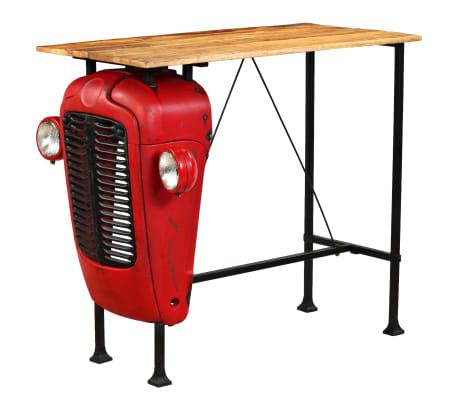 vidaXL Table de bar Bois de manguier 60x120x107 cm Rouge Tracteur[15/16]