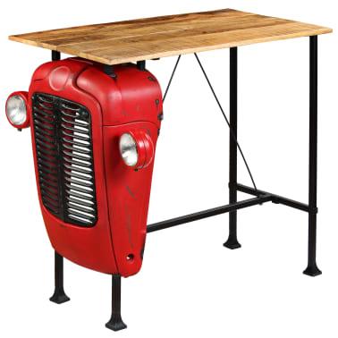 vidaXL Table de bar Bois de manguier 60x120x107 cm Rouge Tracteur[2/16]