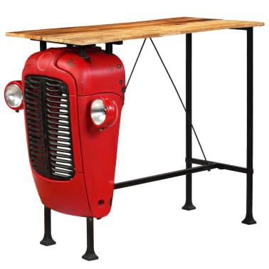 vidaXL Table de bar Bois de manguier 60x120x107 cm Rouge Tracteur[12/16]