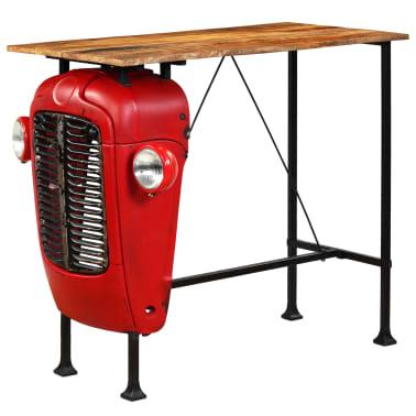 vidaXL Table de bar Bois de manguier 60x120x107 cm Rouge Tracteur[14/16]
