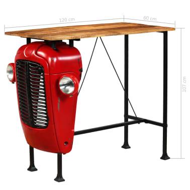 vidaXL Table de bar Bois de manguier 60x120x107 cm Rouge Tracteur[16/16]
