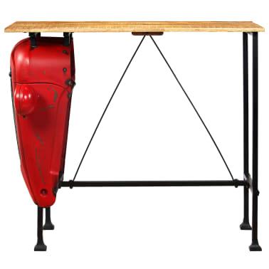 vidaXL Table de bar Bois de manguier 60x120x107 cm Rouge Tracteur[3/16]