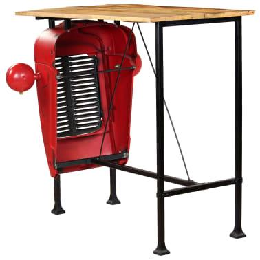 vidaXL Table de bar Bois de manguier 60x120x107 cm Rouge Tracteur[4/16]