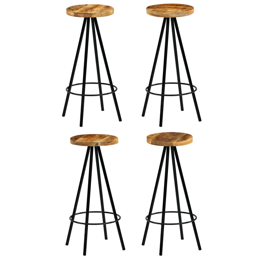 vidaXL Καρέκλες Μπαρ 4 τεμ. 30 x 30 x 76 εκ. από Μασίφ Ξύλο Μάνγκο