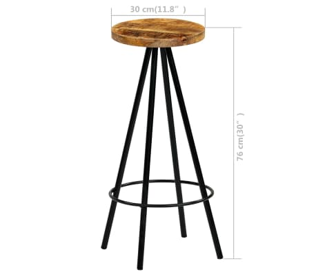 vidaXL Barski stoli 4 kosi trden mangov les 30x30x76 cm[12/12]