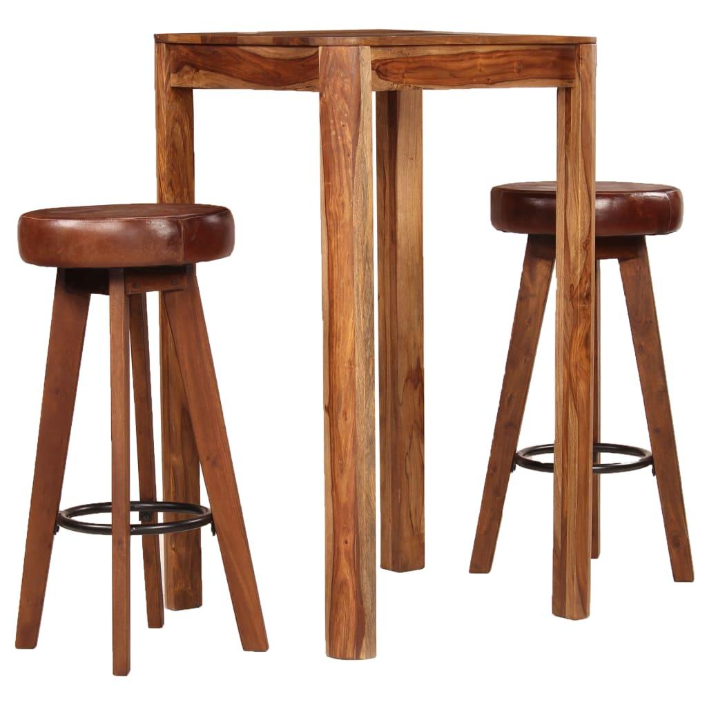 vidaXL Zestaw mebli barowych, 3 części, lite drewno sheesham i skóra