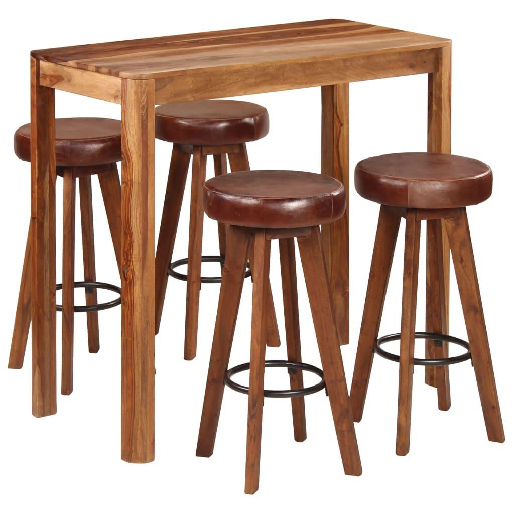 <ul><li><strong>Bartisch:</strong></li><li>Material: Massives Palisanderholz</li><li>Abmessungen: 115 x 56 x 107 cm (L x B x H)</li><li><strong>Barhocker:</strong></li><li>Material: Rahmen aus massivem Akazienholz & Sitze aus echtem Ziegenleder & Eisen</li><li>Abmessungen: 37 x 77 cm (Durchmesser x H)</li><li>Poliert und lackiert</li><li>Die Lieferung umfasst 1 Stehisch und 4 Barhocker</li></ul>