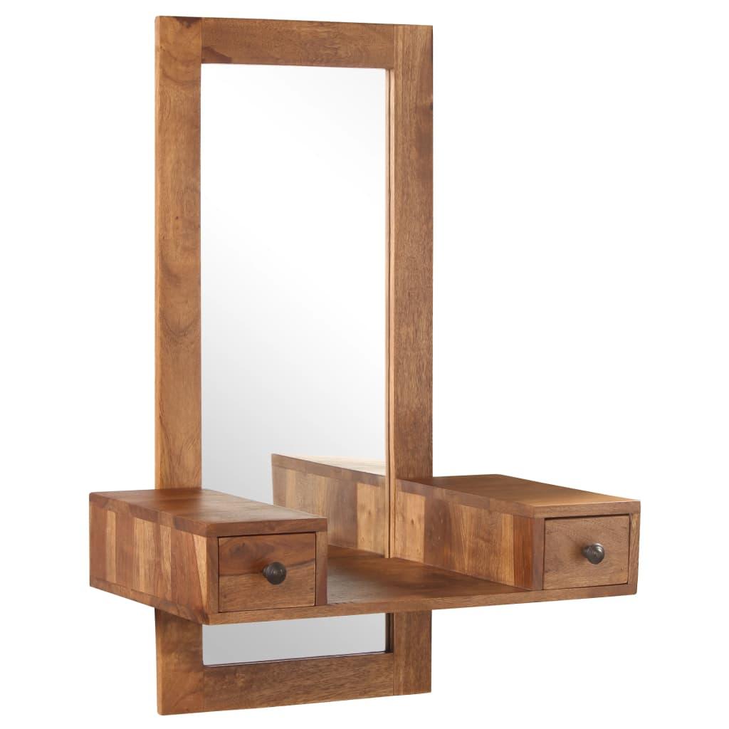 vidaXL Oglindă cosmetică cu 2 sertare, lemn masiv de sheesham poza vidaxl.ro