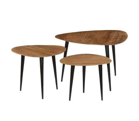 vidaXL Coffee Table Set 3 Pieces Solid Acacia Wood