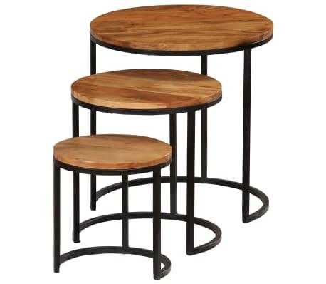 vidaXL Kavos staliukų kompl., 3d., akac. mas., rausv. dalberg. apd.[2/16]