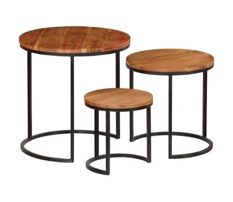 vidaXL Kavos staliukų kompl., 3d., akac. mas., rausv. dalberg. apd.[15/16]
