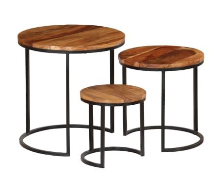 vidaXL Kavos staliukų kompl., 3d., akac. mas., rausv. dalberg. apd.[16/16]