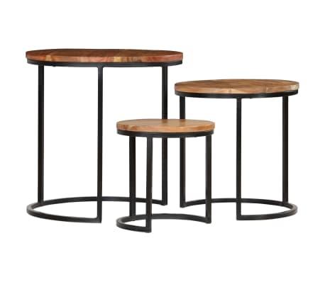 vidaXL Kavos staliukų kompl., 3d., akac. mas., rausv. dalberg. apd.[3/16]