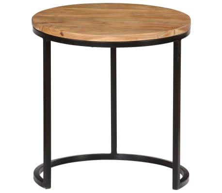 vidaXL Kavos staliukų kompl., 3d., akac. mas., rausv. dalberg. apd.[5/16]