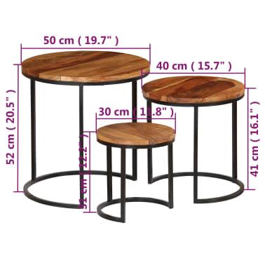 vidaXL Kavos staliukų kompl., 3d., akac. mas., rausv. dalberg. apd.[12/16]