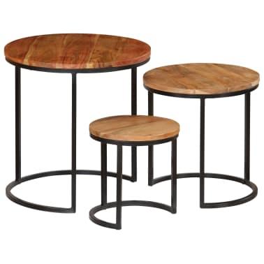 vidaXL Kavos staliukų kompl., 3d., akac. mas., rausv. dalberg. apd.[13/16]