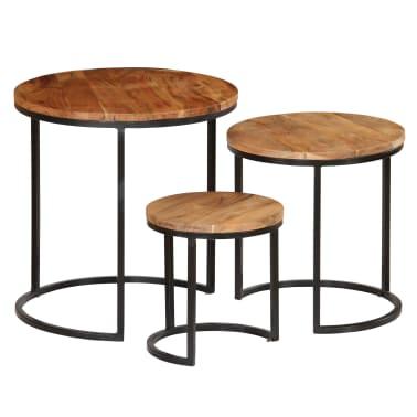 vidaXL Kavos staliukų kompl., 3d., akac. mas., rausv. dalberg. apd.[14/16]