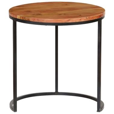 vidaXL Kavos staliukų kompl., 3d., akac. mas., rausv. dalberg. apd.[6/16]