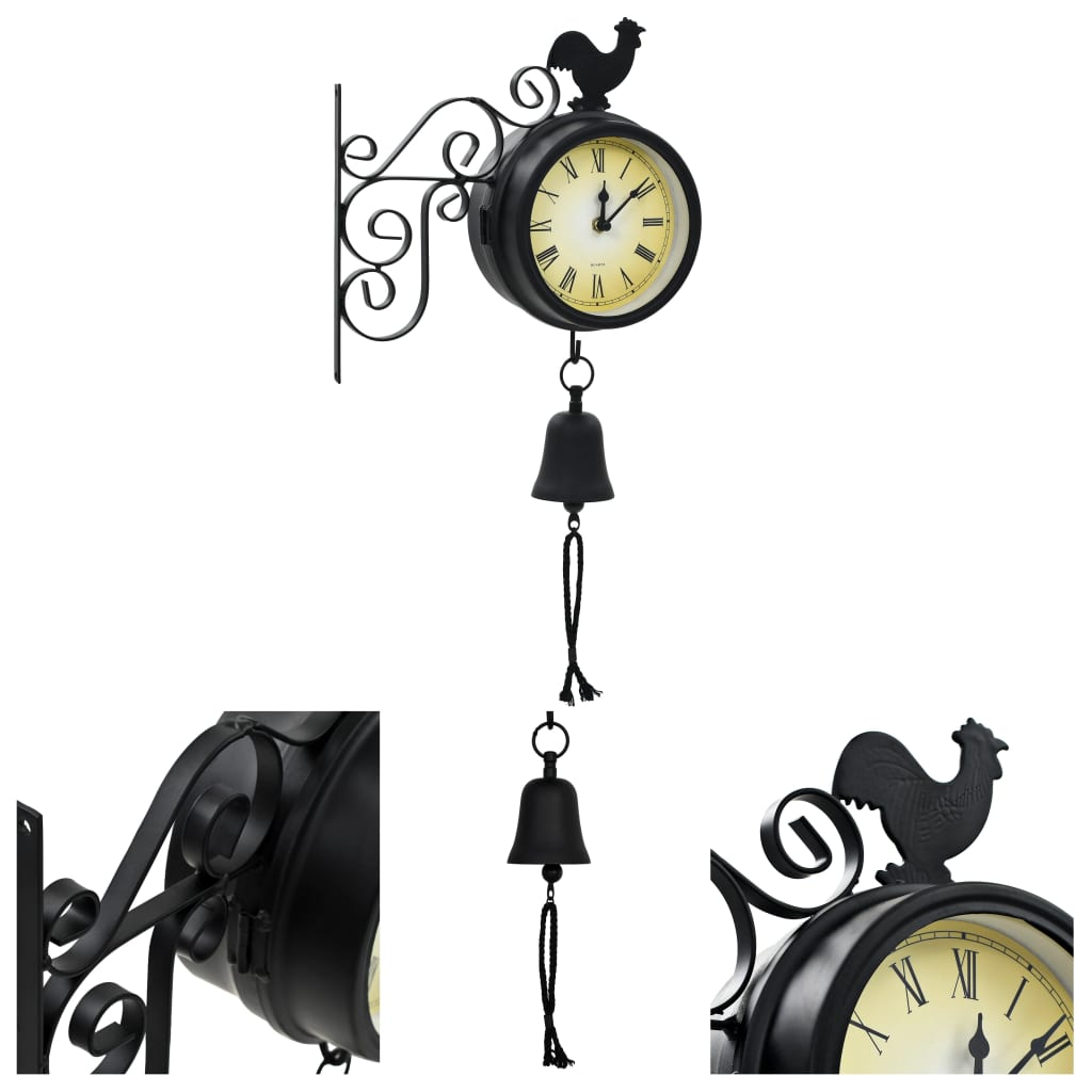 vidaXL Zahradní nástěnné hodiny s teploměrem vintage