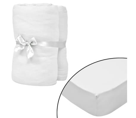 vidaXL Чаршафи с ластик за водни легла 2 бр 180x200 см памук бели