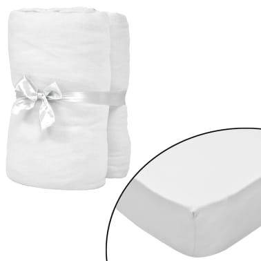 vidaXL Drap-housse pour lits à eau 2 pcs 200x200 cm Coton jersey Blanc[1/4]