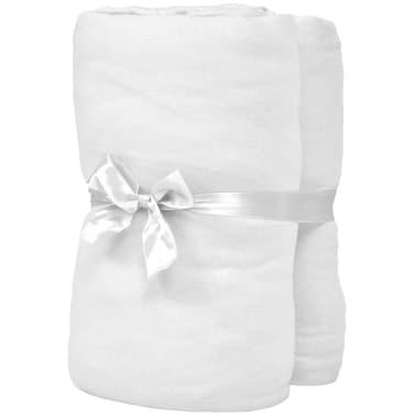 vidaXL Drap-housse pour lits à eau 2 pcs 200x200 cm Coton jersey Blanc[2/4]