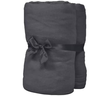 vidaXL Hoeslaken waterbed 1,6x2 m katoenen jersey stof antraciet 2 st[2/4]
