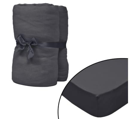 vidaXL Lençol ajustável colchão água 2 pcs 2x2 m algodão antracite[1/4]