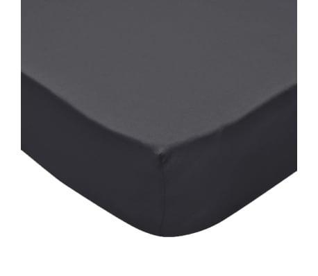 vidaXL Lençol ajustável colchão água 2 pcs 2x2 m algodão antracite[4/4]