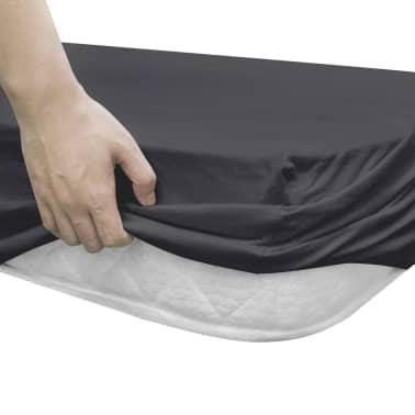 vidaXL Lençol ajustável colchão água 2 pcs 2x2 m algodão antracite[3/4]