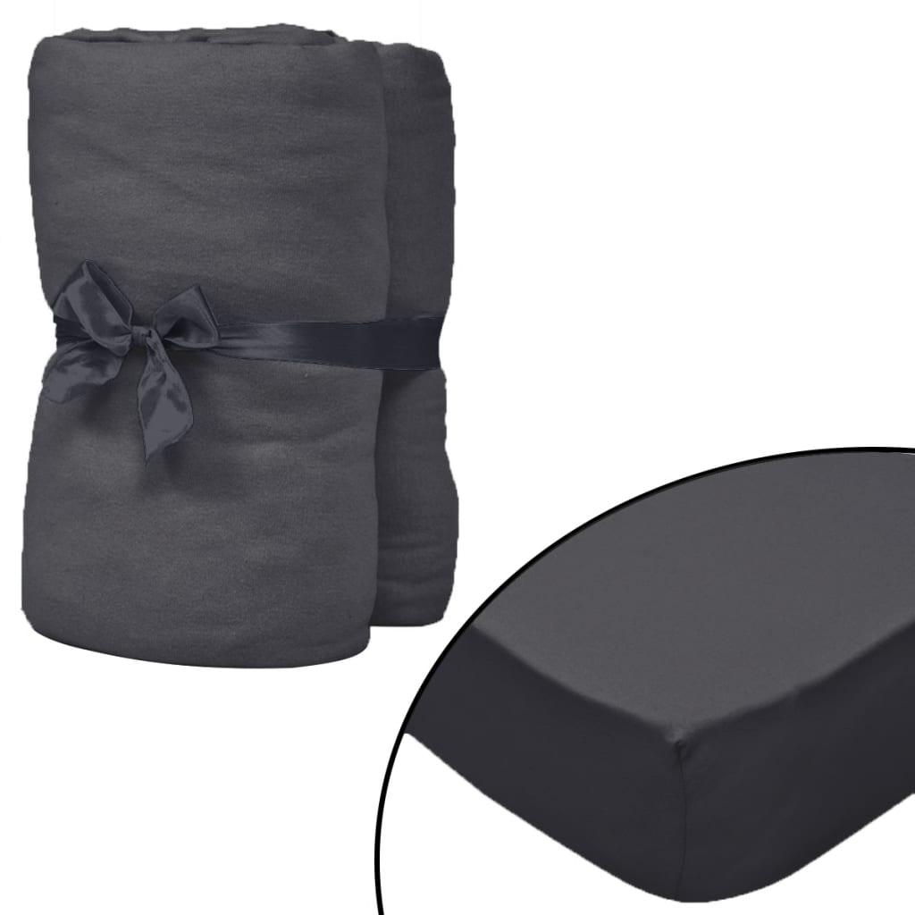 vidaXL Napínací prostěradla na vodní postele 2 ks 2x2,2 m antracitová