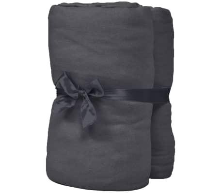 vidaXL Hoeslaken waterbed 2x2,2 m katoenen jersey stof antraciet 2 st[2/4]