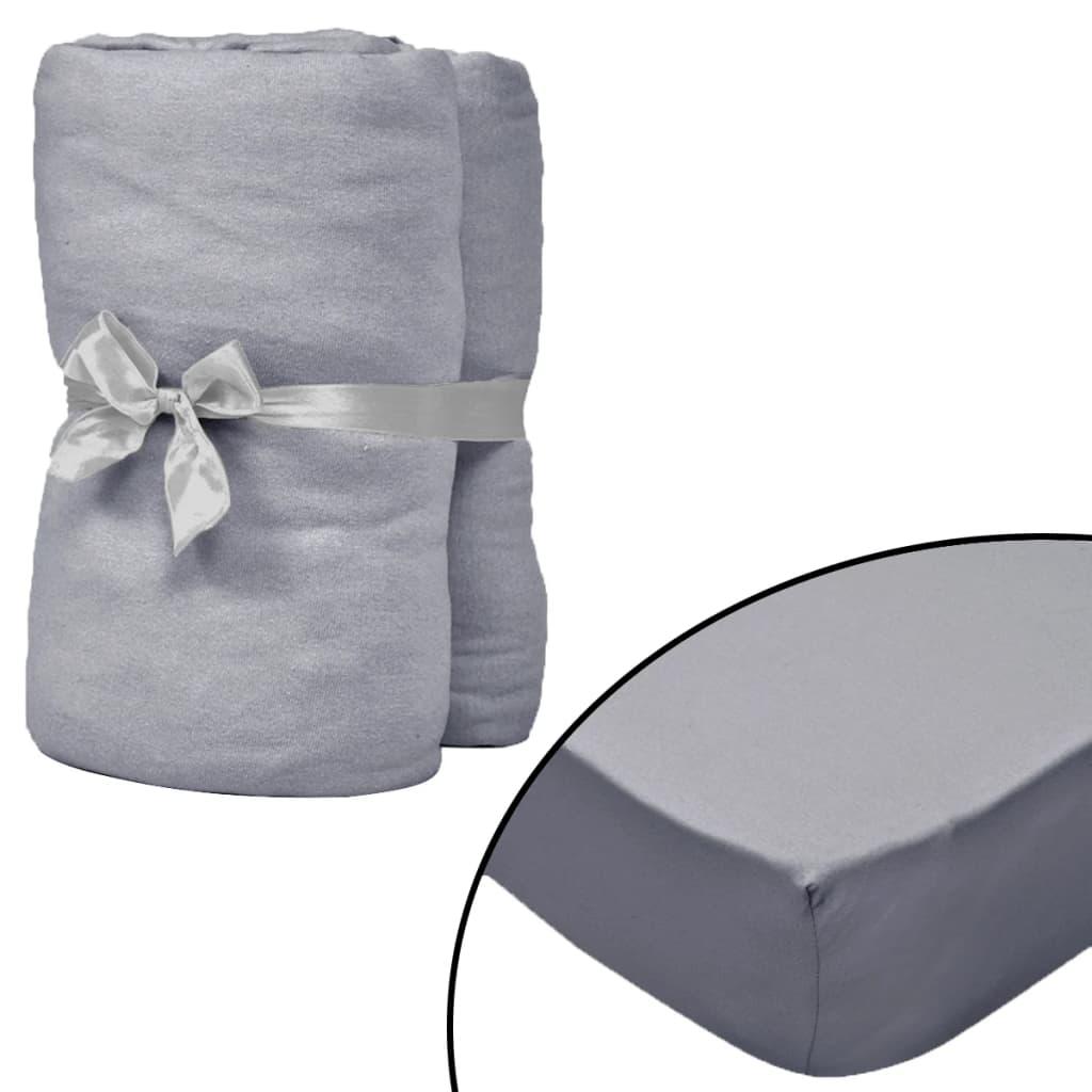 vidaXL Husă de pat cu apă 2 buc., 160 x 200 cm, bumbac jerseu, gri poza 2021 vidaXL