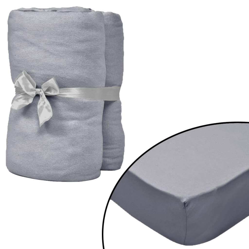 vidaXL Formsydde laken for vannseng 2 stk 180x200 cm bomull grå