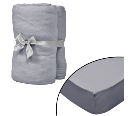 vidaXL Hoeslaken waterbed 180x200 cm katoenen jersey stof grijs 2 st[1/4]