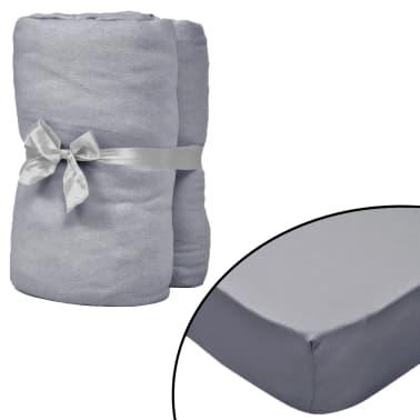 vidaXL Dra-på-lakan för vattensäng 2 st 200x200 cm bomullsjersey grå[1/4]