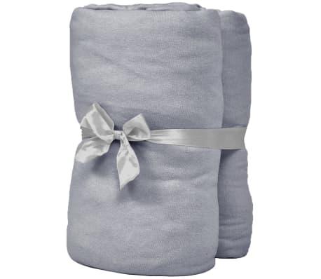 vidaXL Hoeslaken waterbed 200x200 cm katoenen jersey stof grijs 2 st[2/4]