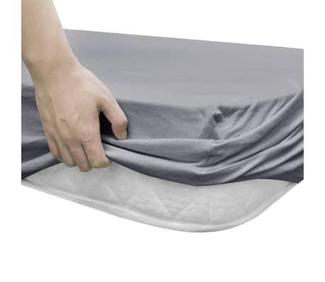 vidaXL Sábana bajera para cama de agua 200x200 cm algodón gris 2 uds[3/4]