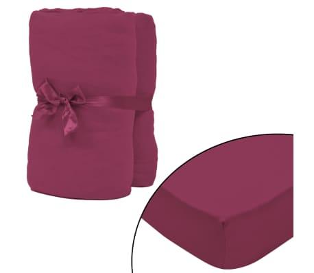 vidaXL Drap-housse pour lit à eau 2 pcs 1,8x2 m Jersey coton Bordeaux