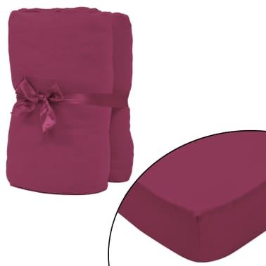 vidaXL Drap-housse pour lit à eau 2 pcs 1,8x2 m Jersey coton Bordeaux[1/4]