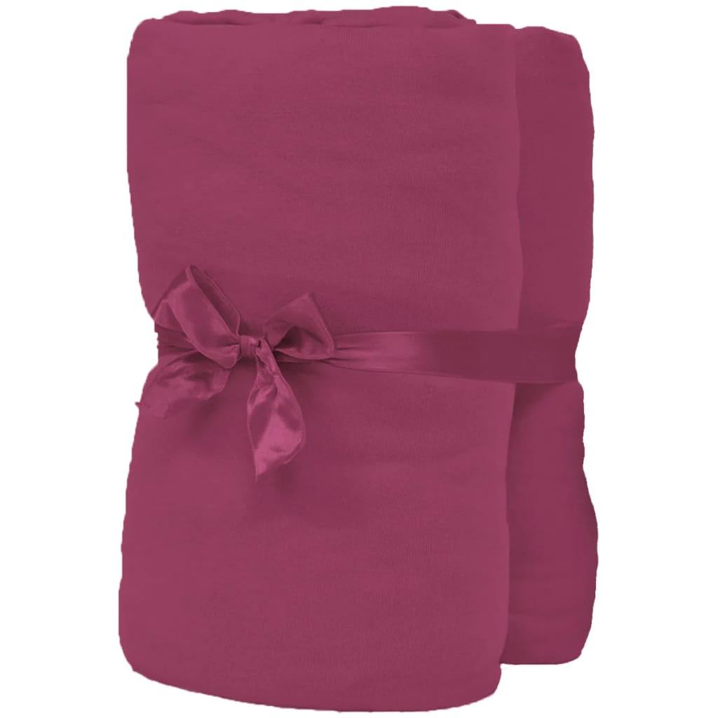 vidaXL Napínací prostěradla na vodní postele 2ks 1,8x2 m jersey vínová