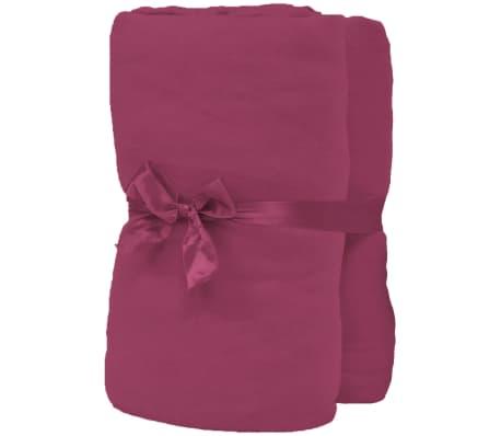 vidaXL Sábana bajera para cama de agua 1,8x2m algodón burdeos 2 uds[2/4]