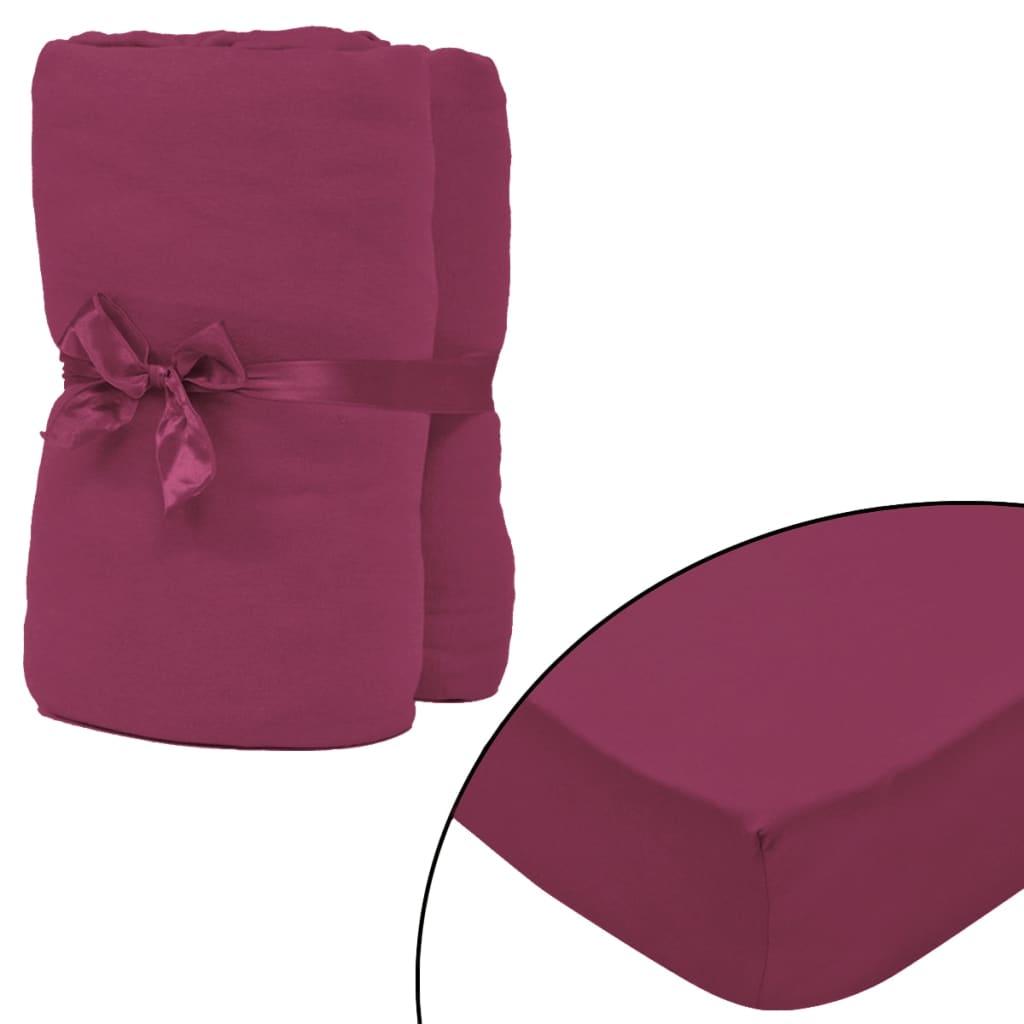 vidaXL Napínací prostěradla na vodní postele 2 ks 2x2 m jersey vínová