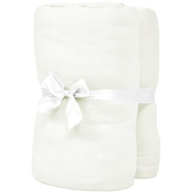vidaXL Hoeslaken waterbed 1,6x2 m katoen jersey stof gebroken wit 2 st[2/4]